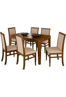 Mesa Extensível Ester 140Cm Imbuia Com 6 Cadeiras Barra Tecido Matelassê Bege