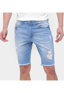 Bermuda Jeans Enfim Desfiada Masculina - Masculino-Azul