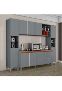 Cozinha Completa 10 Portas 1 Balcão Com Tampo 3 Gavetas Nichos E Adega Nice I Siena Móveis Cinza/Laranja