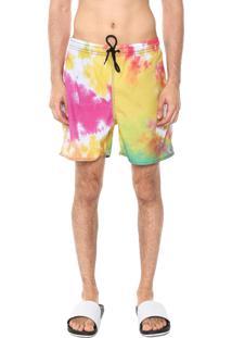 Bermuda Água Ride Skateboard Quadrada Tie Dye Amarela/Rosa