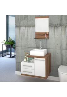 Gabinete Para Banheiro 1 Porta 2 Gavetas 1 Cuba Q35 E Espelheira Legno 651W Siena Móveis Branco/Nogal