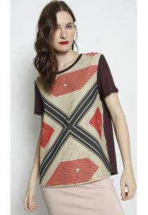 Camiseta Texturizada Com Tag- Marrom Escuro & Bege- Forum