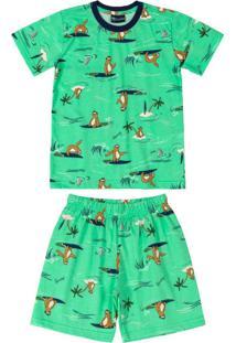 Pijama Infantil Preguiça Verde