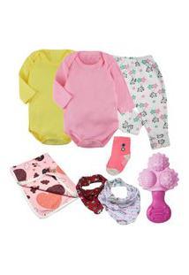 Kit Maternidade Roupa De Bebê 8 Pçs Enxoval Body Acessórios Rosa
