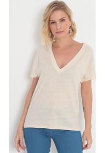 Camiseta Com Linho- Off White- Colccicolcci