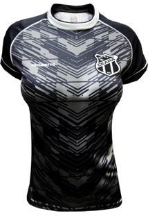 Camisa Feminina Baby Look Ceará S.C. Escudetto Escudo Bordado Gola Redonda 100% Poliéster Preta