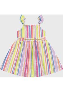 Vestido Fakini Infantil Listrado Amarelo/Rosa