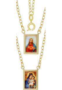Escapulário Prata Mil 2 Correntes Santo Estampado E Adesivo Dourado