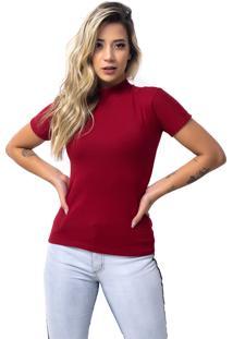 Camiseta Vicbela Gola Alta Vermelho - Ref: 053