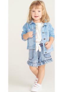Bermuda Jeans Bebê Menina Com Babado