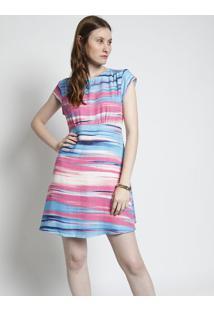 Vestido Abstrato Com Recorte - Azul Claro & Rosafolha