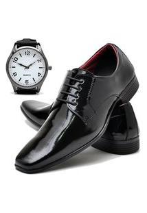 Sapato Social Masculino Db Now Com Relógio New Dubuy 819Od Preto