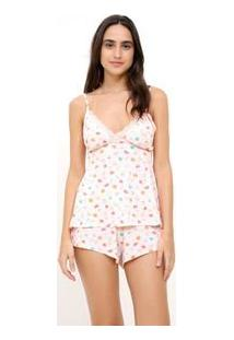 Short Doll Estampa Happy Fruits Com Renda
