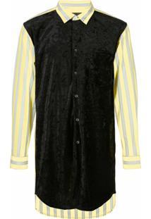 Comme Des Garçons Homme Plus Camisa Listrada Com Veludo Na Parte Fronta - Amarelo