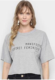 Camiseta Colcci Manisfest Feminina - Feminino-Mescla
