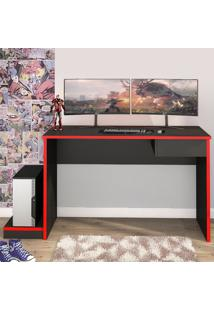 Mesa Gamer Gothan Para 2 Monitores 1 Gaveta Grafite/Vermelho - Pnr Móveis