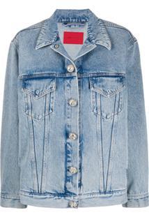 Alessandra Rich Jaqueta Jeans Com Botões De Cristais - Azul
