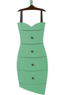 Cômoda Suspensa 4 Gavetas Dress 1081 Cacau/Verde Anis - Maxima