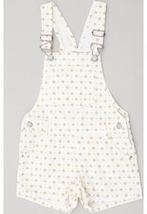 Jardineira Color Infantil Estampada Mini Print Off White
