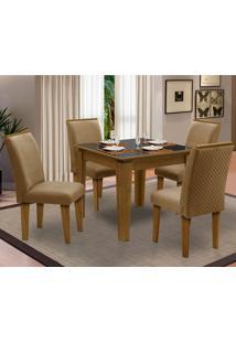 Sala De Jantar Saint Michel Com 4 Cadeiras – Dobuê Movelaria - Mell / Preto / Kaki