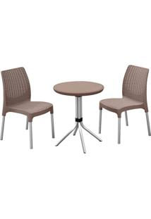 Conjunto Mesa E 2 Cadeiras Chelsea Patio Set 710218 – Keter - Marrom