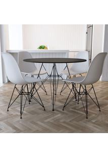 Conjunto De Mesa De Jantar Com 4 Cadeiras Eiffel Iron Branco E Preto