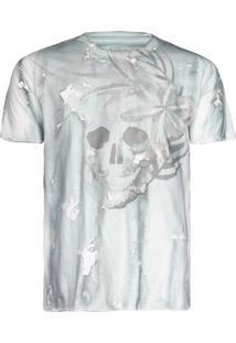 Camisetas Khelf Camiseta Masculina Tie-Dye Caveira Off-White