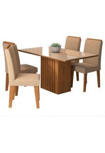 Conjunto De 4 Cadeiras Para Sala De Jantar 130X80 Ana/Tais-Cimol - Savana / Offwhite / Caramelo