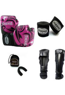 Kit Muay Thai Top Luva Bandagem Caneleira Bucal 08 Oz Tribal - Feminino