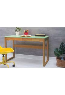 Escrivaninha Para Quarto Olga 121X51,3X75 Cm - Acabamento Verniz Nózes E Tampo Verde Sálvia