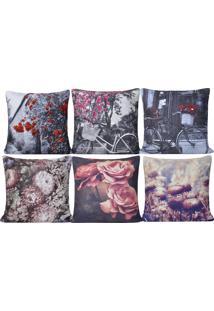 Kit 6 Capas De Almofada Digital Print Suede Floral