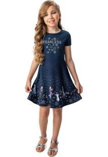 Vestido Azul Marinho Evasê Frozen®