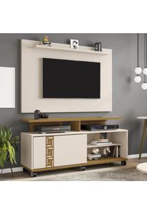 Rack Com Painel Para Tv Até 50 Polegadas Cairo Bege/Marrom - Pnr Móveis