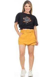 Camiseta Clara Arruda Feminina - Feminino-Preto