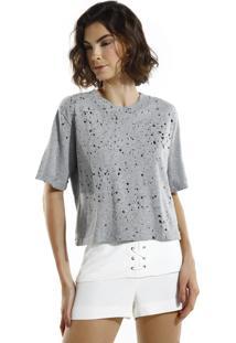 Camiseta John John Basic Grey Malha Cinza Feminina (Cinza Medio, G)