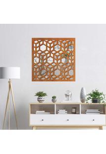 Escultura De Parede Wevans Illusion, Madeira + Espelho Decorativo