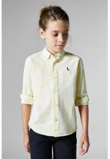 Camisa Masculina Infantil Mini Pf Regular Oxford Reserva Mini - Masculino-Bege