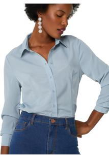 Camisa De Crepe Com Corte Tradicional