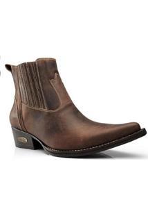 Bota Texana Country Capelli Boots Couro Cano Curto Masculina - Masculino-Café