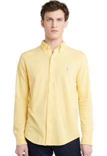 Camisa Ralph Lauren Masculina Custom Fit Oxford Amarela
