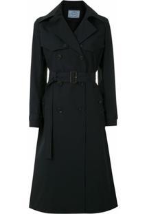 Prada Trench Coat Com Fivela - Azul