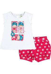 Conjunto Infantil Pulla Bulla Meia Malha Feminino - Feminino-Branco+Vermelho