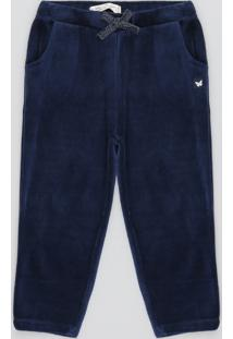 Calça Infantil Em Plush Com Bolso Azul Marinho