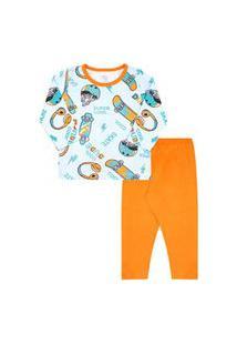 Pijama Bebê Masculino Meia Malha Camiseta Manga Longa Skate E Calça Laranja (1/2/3) - Kappes - Tamanho 3 - Azul,Laranja