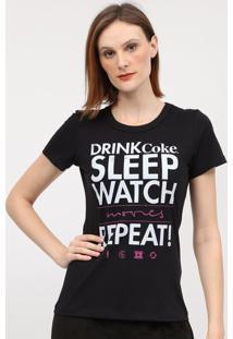 "Camiseta ""Drike Coke Sleep Watch""- Preta & Branca- Ccoca-Cola"