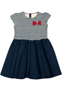 Vestido Infantil - Manga Curta - Listra Com Lacinho - Algodão E Elastano - Marinho - Duduka - 3