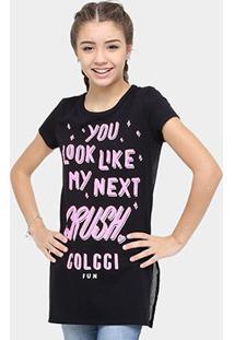 Camiseta Infantil Colcci Fun Estampada Feminina - Feminino-Preto