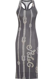 Vestido Regata Estampa Listra Vertical - Cinza