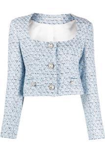 Alessandra Rich Jaqueta De Tweed Com Abotoamento Simples - Azul