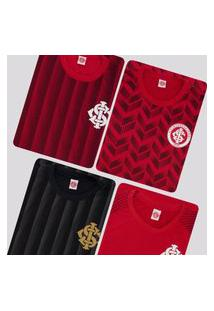 Kit De 4 Camisas Internacional Vermelha E Preta